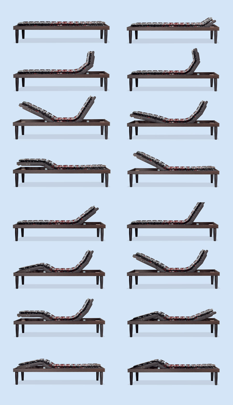 Possible positions taken by the bed base Ergomovie De Luxe